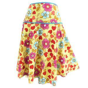 Lapis Skirt A Line Floral Hearts Stretch Midi M